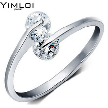 New Arrival Ceramic Rings For Women Huge Zircon Cabochon Setting Silver Ceramic Wedding Rings Cute Simple Unique Design R080