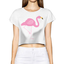 AGARY&EASY Hipster Crop Tops Women T-shirts Rock pink Flamingo cropped Feminino Tumblr King Queen Shirts Women