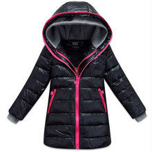 2014 new girl's outdoor winter thick warm down jacket outerwear,kids / children's casual sports long jackets coats for girls
