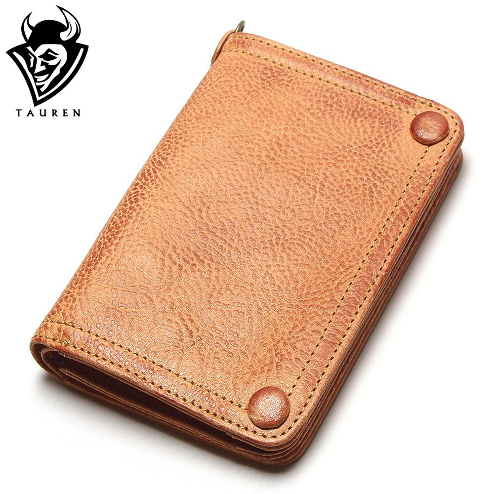 Tauren Vegetable Tanned Leather Wallet Hand Brushing Color High Quality Handmade Original Design Vintage Thick Cow Leather Purse<br>