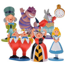Hot classic MINI ALICE IN WONDERLAND PVC Cake Toppers Figure Toy 6pcs set(China)