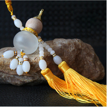 Car-styling Dual Tassels Gourd Perfume Pendant White Jade Gold Plated design Ornament Car Decoration Auto-Interior(China)