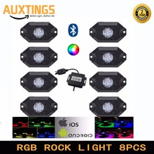 4PCS8PCS FREE SHIPPING Multi-Color RGB LED Rock Light Kit with Bluetooth Controller ,Timing Function, Music Mode for Cars Truck