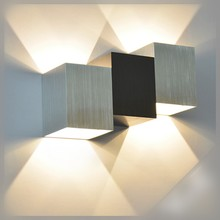 Fashion Cube LED Wall Lamp 6W AC110V 220V Home Decorate Sconce Brand New Bedroom Led Wall Light Bidirectional Indoor Wall Lamp