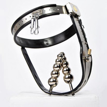 Buy Stainless steel silicone liner Female Chastity belt Lock&butt plug fetish bdsm bondage sex games adult sex toys couples