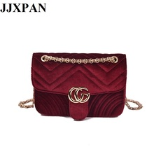 2017 New Velour Chain Women Bag Famous Brand Embroidery Designer Bags Fashion Lady Messenger Bag