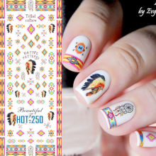 1 sheet Tribal Patterns Nail Water Decals Colorful Aztec Transfer Stickers Nail Art Sticker Decoration Tattoo Decals #HOT250-252(China)