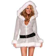 Special Silver Fantasy Christmas Party Costume Women Santa Dress Sexy Miss Claus Halloween Cosplay Hooded Dress+Belt