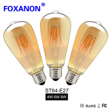 Foxanon 4W 6W 8W Dimmable COB LED Vintage Filament Retro Edison Bulbs 220V 110V ST64 2200K 27000K Filament Lamp Vintage Lighting(China)