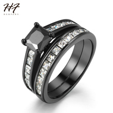 2017 New Luxury Black Rings 2 pieces Ring Sets Princess Cut Cubic Zirconia Ring Fashion Jewelry for Women Wholesale R609