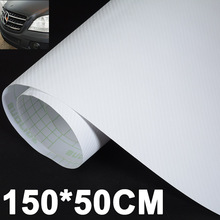 1pc 150*50CM 3D Carbon Fiber Sticker High Quality Carbon Fiber Car Vinyl Wrap Sheet Roll Film Decal White for Car Stickers