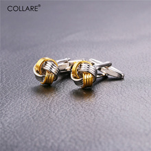 Collare Cufflinks For Mens Two Tone Gold Color Cuff links Men Classic Cufflink High Quality Cuff Buttons C199(China)