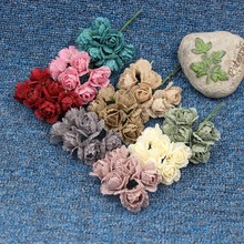 6pcs Flax Rose Bouquet Flower For Wedding Fleurs Scrapbooking Garland Home Decoration Needlework Fake Plastic Cheap Flowers