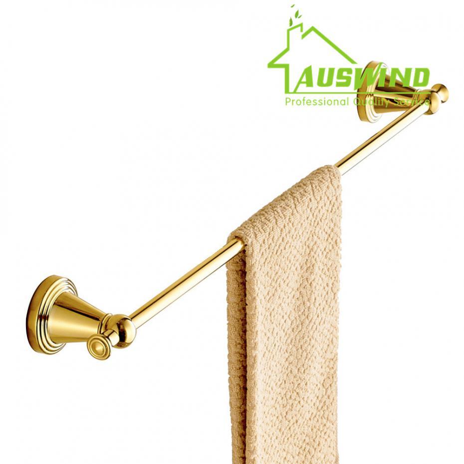 Antique Gold Polish Finish Brass Towel Bar Luxury Wall Mounted Round Head Single Towel Bar Bathroom Hardware M1<br>