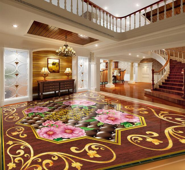 3 d pvc flooring custom  3d bathroom flooring Soft package wood parquet restoring ancient ways paintings 3d murals wallpaper<br>