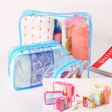 3PCS/Set Waterproof Transparent Cosmetic Bag Women Portable Toiletry Kits Cosmetic Organizer Brand Make Up Bags New