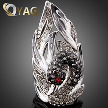 Europe Retro Stylish Jewelry Crystal Swan Ring For Woman Vintage Exquisite Female Ring Statement Girls bague anel