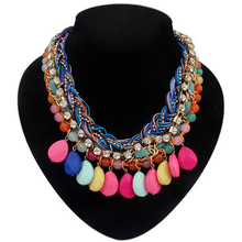 TDQUEEN 2017 new fashion Maxi Statement Necklaces  handmade weave  multi color acrylic drop water charm chokers  for woman girl