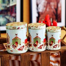 Free Shipping! 3pcs/lot Round Shape Tin Box Set Tin Candy Can Chicken & House Design Creative Storage Case Set  metal case