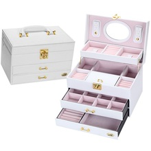 New 4 layer Upscale Cortex Large Capacity Studs  Necklace Storage Case organizer Jewelry Box makeup big Gift Box Caja de joyas