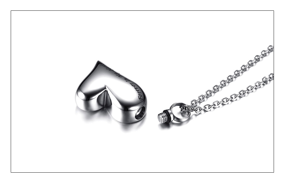 Meaeguet Stainless Steel Heart Urn Pendant Cremation Ashes Necklace For Women Memorial Personalized Keepsake Jewelry (2)