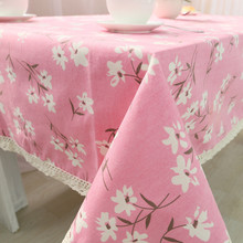 1pcs White Flower Pink Cotton linen tablecloth Lace Edge Wedding Party Table cloth Cover Home decor decoration Tablecloths 44073(China)