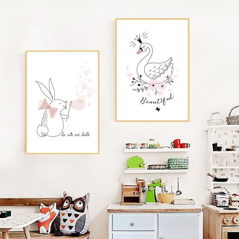 Nordic-Quarto-Dos-Mi-dos-Bonitos-Animal-Posters-E-Impress-es-Rosa-Cisne-coelho-Arte-Da