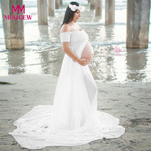 Maternity dress Pregnant dress Photography Props Chiffon Dresses Off Shoulders for Pregnant Women dress White shoulderless(China)