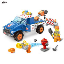 207Pcs City Series Seaside Road Wrecker Car Bricks Toys Building Block Kids Toys Gifts Compatible With Bricks Toys(China)