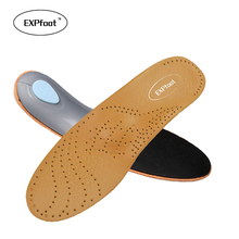 EXPfoot High quality Leather orthotics Insole for Flat Foot Arch Support 25mm orthopedic Silicone Insoles for men and women 25(China)