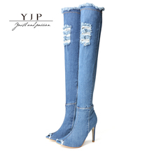 YJP Women Denim Boots, Blue Peep Toe Over The Knee Shoes, Elastic Ripped Jeans Fashion Thigh High Boots, 10cm Thin High Heels(China)