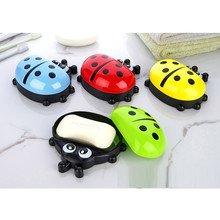 Cute Colorful Ladybug Kids Soap Box Cute Cartoon Travel Soap Dish F8233(China)