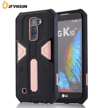 For LG K10 Case NEW Hybrid TPU+PC Hard Plastic Armor Case For LG K10 HOT Slim Dual Color Rubber Dustproof plug Phone Back Covers
