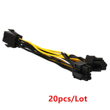 20pcs/Lot Molex 6-pin PCI Express to 2 x PCIe 8 (6+2) pin Motherboard Graphics Video Card PCI-e GPU VGA Splitter Hub Power Cable
