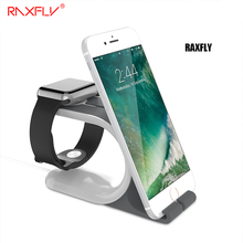 RAXFLY Mobile Phone Desktop Dock Holder Stand For iPhone 5S SE 6 6S 7 Plus Bracket Cradle Holder For iWatch Tablet Charger Stand