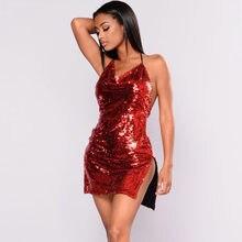 New fashion red sequin night club sexy dress women hang neck sleeveless summer  backless split hem party ladies dresses plus size 2c5ff13a5ebd
