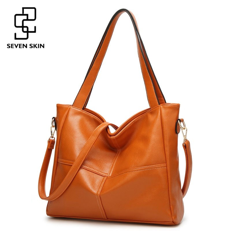 SEVEN SKIN Women Top-handle Bags Litchi Leather Shoulder Bag Women Large Capacity Tote Bags Female Messenger Bag Casual Design<br>