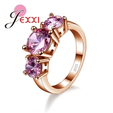 JEXXI High Quality Fashion Elegant Wedding Rings For Women 925 Sterling Silver CZ   Finger Ring Engagement Band Jewelry