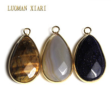 Wholesale Natural Water Drop Faceted Natural Stone Tiger Eye Charm Pendant Goleden Plated DIY Fit Necklace For Jewelry Making(China)