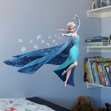 & Cartoon Snow Queen Wall Stickers Elsa Snowflake Wallpaper Decal Kids Room Nursery Home Decor Vinyl 3D Animation Movie Mural