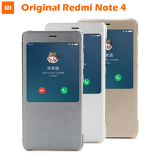 100% Original xiaomi REDMI NOTE 4 flip case Chinese MTK Helio x 20 / Global Version Snapdragon Smart Cover ( 5.5 inch )(China)