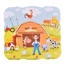 3layer wooden puzzles,early education multilayer three-dimensional puzzle farm.children's toys,classic toys