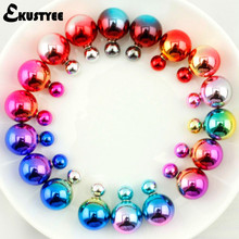 10 Pairs/lot Mix Colors Hot Style Double Side Earrings Fashion Jewelry Two Bead Double Pearl Stud Earring for Women