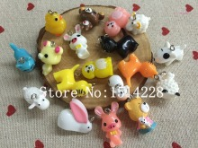 Free shipping! Cute animal charms.Mixed 3D resin rabbit/ bear/cat/dog/sheep/cow pendant for key chain/phone decoration,DIY.(China)