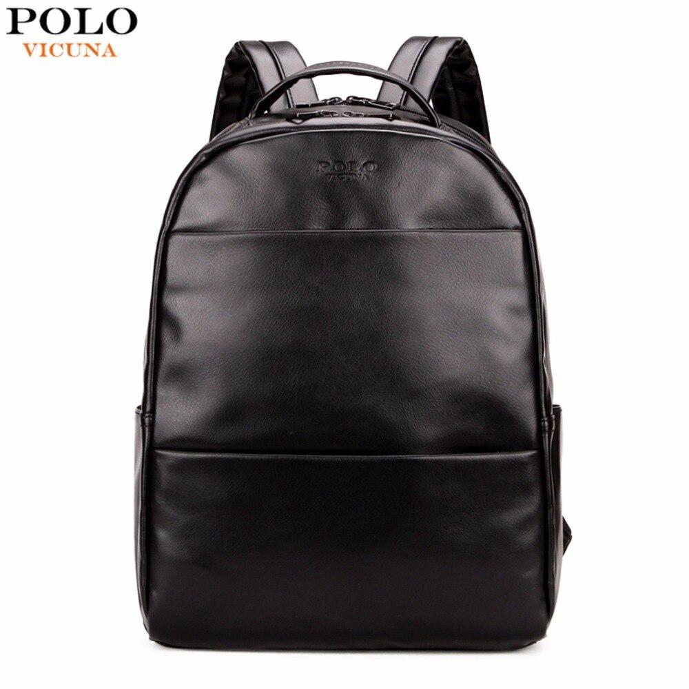 VICUNA POLO Fashion Preppy Style Unisex School Backpack For Teenage Solid Black Men Leather Backpack Travel Backpack Bag Men Bag<br>