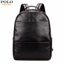 VICUNA POLO Fashion Preppy Style Unisex School Backpack For Teenage Solid Black Men Leather Backpack Travel Backpack Bag Men Bag(China)