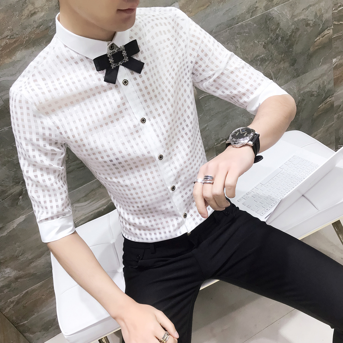 Wedding Bow Tie  Men Slim Fit Shirt See Through Mens Fancy Shirts Camicie Uomo Dress Wedding Prom Party Chemise Homme