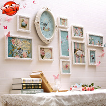 Good Quality Carved 10 pcs/set Wooden Photo Frame Set,Wedding Picture Frame Wall Combination with Clock,Family Photo Frames DIY