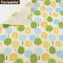 TERAMILA Cotton Linen Fabric Cartoon Trees Sewing Material Tissue Beige Tablecloth Pillow Bag Curtain Cushion Pillow Zakka CM