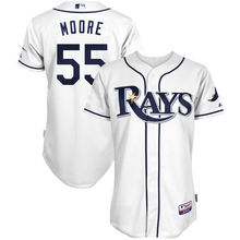 MLB Men's Tampa Bay Rays Matt Moore Baseball White Home 6300 Player Authentic Jersey(China)